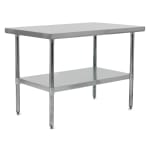 "John Boos FBLG9624 96"" 18-ga Work Table w/ Undershelf & 430-Series Stainless Flat Top"