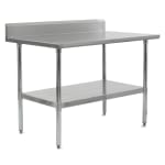 "John Boos FBLGR5-6030 60"" 18-ga Work Table w/ Undershelf & 430-Series Stainless Top, 5"" Backsplash"