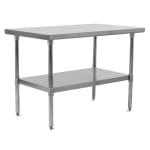 "John Boos FBLS4818 48"" 18 ga Work Table w/ Undershelf & 430 Series Stainless Flat Top"