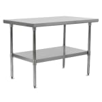 "John Boos FBLS9630 96"" 18 ga Work Table w/ Undershelf & 430 Series Stainless Flat Top"