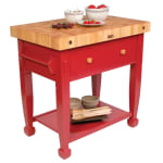 "John Boos JASMN36243-D-S Jasmine Hard Maple Table, 36 x 24"", Barn Red"
