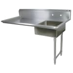 "John Boos JDTS-20-50UCR 50"" Undercounter Soiled Dishtable w/ 16-ga Stainless Legs, R to L"