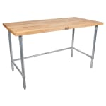 "John Boos JNB15 1.5"" Maple Top Work Table w/ Open Base, 60""L x 36""D"
