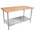 "John Boos JNS11 Hard Rock Maple Work Table, Galvanized Shelf,  30 x 72 x 36"" H"