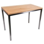 John Boos MET-CNTR4824 Metropolitan Station Kitchen Island Table, 48 W x 24 W x 36 H, Maple Top, S/S