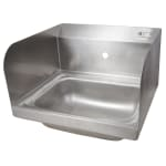 "John Boos PBHS-W-1410-1-SSLR Wall Mount Commercial Hand Sink w/ 14""L x 10""W x 5""D Bowl, Side Splashes"