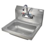 "John Boos PBHS-W-1410-P Wall Mount Commercial Hand Sink w/ 14""L x 10""W x 5""D Bowl, Basket Drain"
