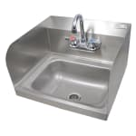 "John Boos PBHS-W-1410-P-SSLR Wall Mount Commercial Hand Sink w/ 14""L x 10""W x 5""D Bowl, Side Splashes"