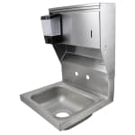 "John Boos PBHS-W-1410-SDTD Splash Mount Hand Sink w/ Dispensers, 4"" On-Center, 14 x 10 x 5"" Bowl"