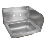 "John Boos PBHS-W-1410-SSR Splash Mount Hand Sink w/ Right-Side Splash, 4"" On-Center, 14x10x5"" Bowl"