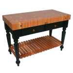 "John Boos RN-LR04-SSL Le Rustica Table, 4"" Thick End Grain Cherry Top, Shelf, Black Base, 30 x 24"""