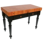 "John Boos RN-LR05 Le Rustica Table, 4"" Thick End Grain Cherry Block, Black Base, 48 x 24"""