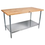 "John Boos SNS09 1.75"" Maple Top Work Table w/ Undershelf, 60""L x 30""D"
