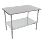 "John Boos ST6-24108GSK 108"" 16-ga Work Table w/ Undershelf & 300-Series Stainless Flat Top"
