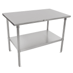 "John Boos ST6-24120SSK 120"" 16-ga Work Table w/ Undershelf & 300-Series Stainless Flat Top"
