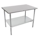 "John Boos ST6-3648GSK 48"" 16 ga Work Table w/ Undershelf & 300 Series Stainless Flat Top"