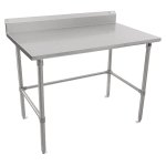 "John Boos ST6R5-24120SBK 120"" 16 ga Work Table w/ Open Base & 300 Series Stainless Top, 5"" Backsplash"