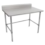"John Boos ST6R5-2472GBK 72"" 16 ga Work Table w/ Open Base & 300 Series Stainless Top, 5"" Backsplash"