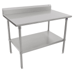 "John Boos ST6R5-30120SSK 120"" 16 ga Work Table w/ Undershelf & 300 Series Stainless Top, 5"" Backsplash"