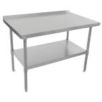 "John Boos UFBLS7230 72"" 18-ga Work Table w/ Undershelf & 430-Series Stainless Top, 1.5"" Backsplash"