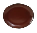 "Tuxton GAR-023 Oval Ceramic Platter - 11x13-1/4"" Red Rock"