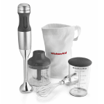 KitchenAid KHB2351CU 3 Speed Hand Blender w/ 2.5 Cup Chopper & Whisk, Contour Silver