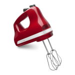 KitchenAid KHM512ER 5-Speed Hand Mixer w/ 2-Stainless Turbo Beater Accessories, Empire Red