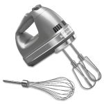 KitchenAid KHM7210CU 7 Speed Hand Mixer w/ Turbo Beater Accessories & Pro Whisk, Contour Silver