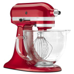 KitchenAid KSM155GBCA 10 Speed Stand Mixer w/ 5 qt Glass Bowl & Accessories, Candy Apple Red