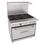 "Bakers Pride 36-BP-6B-S30 36"" 6 Burner Gas Range, LP"