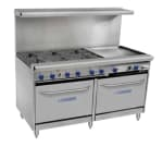 "Bakers Pride 60-BPV-6B-24G-S26 60"" 6-Burner Gas Range with Griddle, LP"