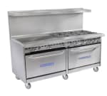 "Bakers Pride 72-BP-6B-G36-S30 72"" 6 Burner Gas Range with Griddle, NG"