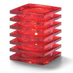 "Hollowick 1501R Square Stacked Glass Lamp for HD12, HD17, HD26, 2.88x3.75"", Ruby"