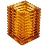"Hollowick 1511A Horizontal Rib Glass Block Lamp, 4-1/8"" H x 2-7/8"" W, Amber"