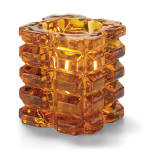 "Hollowick 5151A Faceted Votive Holder for HD8 & HD15 - 3"" x 3.25"", Amber"