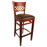 "H&D Commercial Seating 8230B 42.5"" Barstool w/ Lattice Back - Black Vinyl Seat, Dark Mahogany Frame"