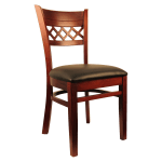 H&d Commercial Seating 8230 Dining Chair w/ Lattice Back - Black Vinyl Seat, Dark Mahogany Frame