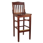"H&D Commercial Seating 8235B 44"" Barstool w/ Vertical Back - Solid Wood Seat, Dark Mahogany Frame"