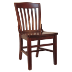 H&D Commercial Seating 8235 Dining Chair w/ Vertical Back - Solid Wood Seat, Dark Mahogany Frame
