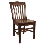H&D Commercial Seating 8235 Dining Chair w/ Vertical Back - Solid Wood Seat, Dark Walnut Frame