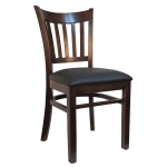 H&D Commercial Seating 8642 Dining Chair w/ Vertical Back - Black Vinyl Seat, Dark Walnut Frame