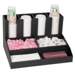 "Dispense-rite CLCO-4BT 8-Compartment Cup, Lid & Straw Organizer - 11.13"" x 18.75"", Polystyrene, Black"