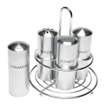 Service Ideas STOCFCR Condiment Set w/ 4-Compartments, Stainless