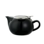 Service Ideas TPC10BL 10 oz Teapot w/ Lid, Infuser Basket, Black Ceramic