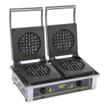 Equipex GED75 Double Round Waffle Baker w/ Drip Tray - Stainless, 220v/1ph