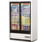 """True GDM-33SSL-54-LD WHT 36"""" Two-Section Glass Door Merchandiser w/ Sliding Doors, White, 115v"""