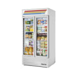 "True GDM-35-HC~TSL01 39.5"" Two-section Glass Door Merchandiser w/ Swing Doors, White, 115V"