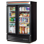 "True GDM-35SL-RF-HC-LD 40"" Two Section Glass Door Merchandiser w/ Swinging Doors, Black, 115v"