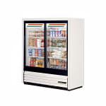 """True GDM-41SL-54-HC-LD 47"""" Two-Section Glass Door Merchandiser w/ Sliding Doors, White, 115v"""