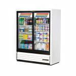 """True GDM-41SL-60-HC-LD 47"""" Two-Section Glass Door Merchandiser w/ Sliding Doors, White, 115v"""